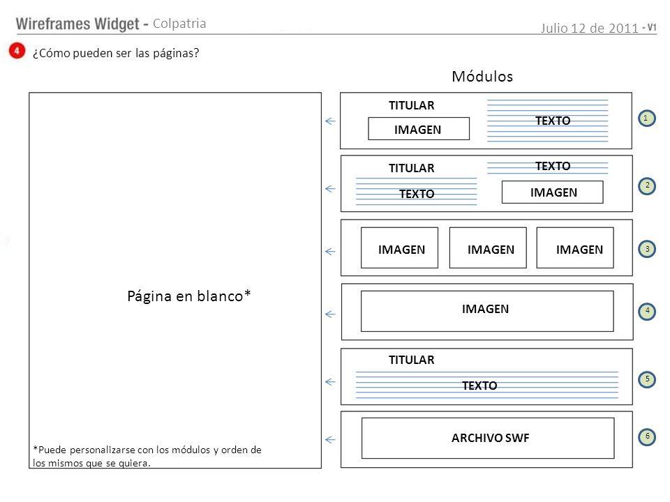 Julio 12 de 2011 Colpatria ¿Cómo pueden ser las páginas? Página en blanco* Módulos *Puede personalizarse con los módulos y orden de los mismos que se