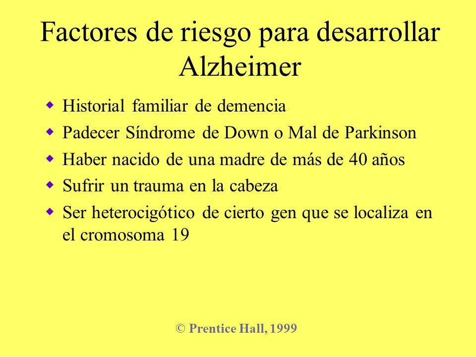 Factores de riesgo para desarrollar Alzheimer Historial familiar de demencia Padecer Síndrome de Down o Mal de Parkinson Haber nacido de una madre de