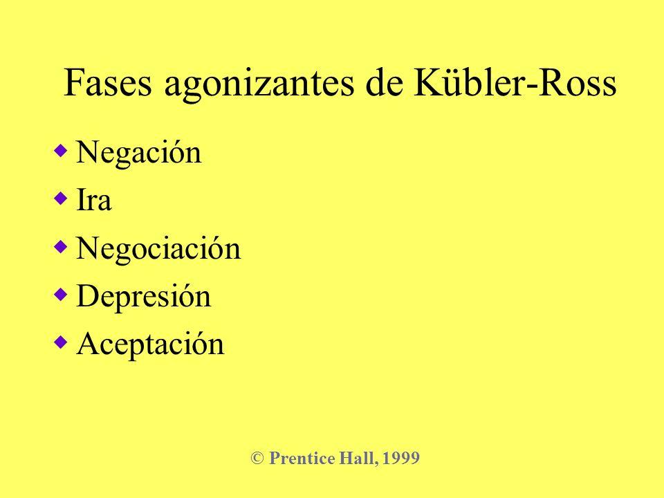 Fases agonizantes de Kübler-Ross Negación Ira Negociación Depresión Aceptación © Prentice Hall, 1999