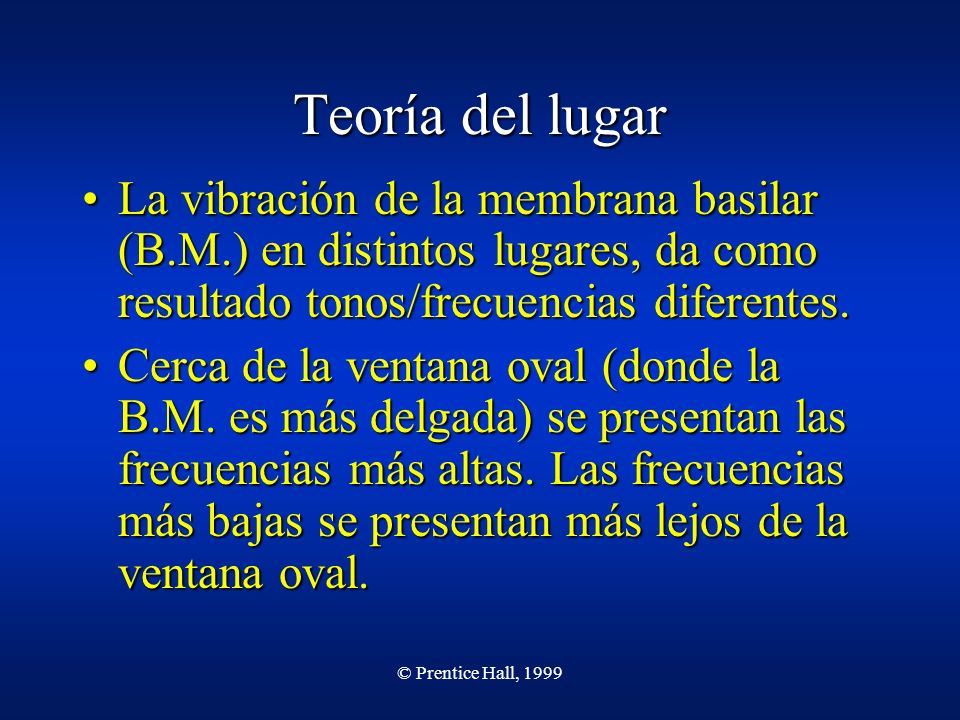 © Prentice Hall, 1999 Teoría del lugar La vibración de la membrana basilar (B.M.) en distintos lugares, da como resultado tonos/frecuencias diferentes.La vibración de la membrana basilar (B.M.) en distintos lugares, da como resultado tonos/frecuencias diferentes.