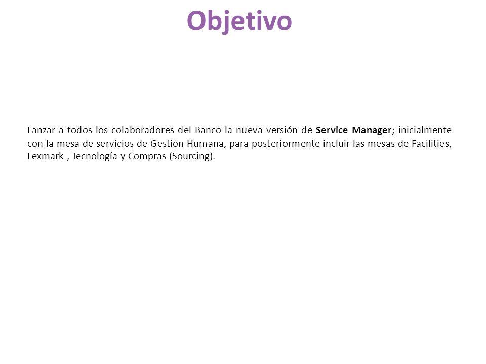 Lanzar a todos los colaboradores del Banco la nueva versión de Service Manager; inicialmente con la mesa de servicios de Gestión Humana, para posterio