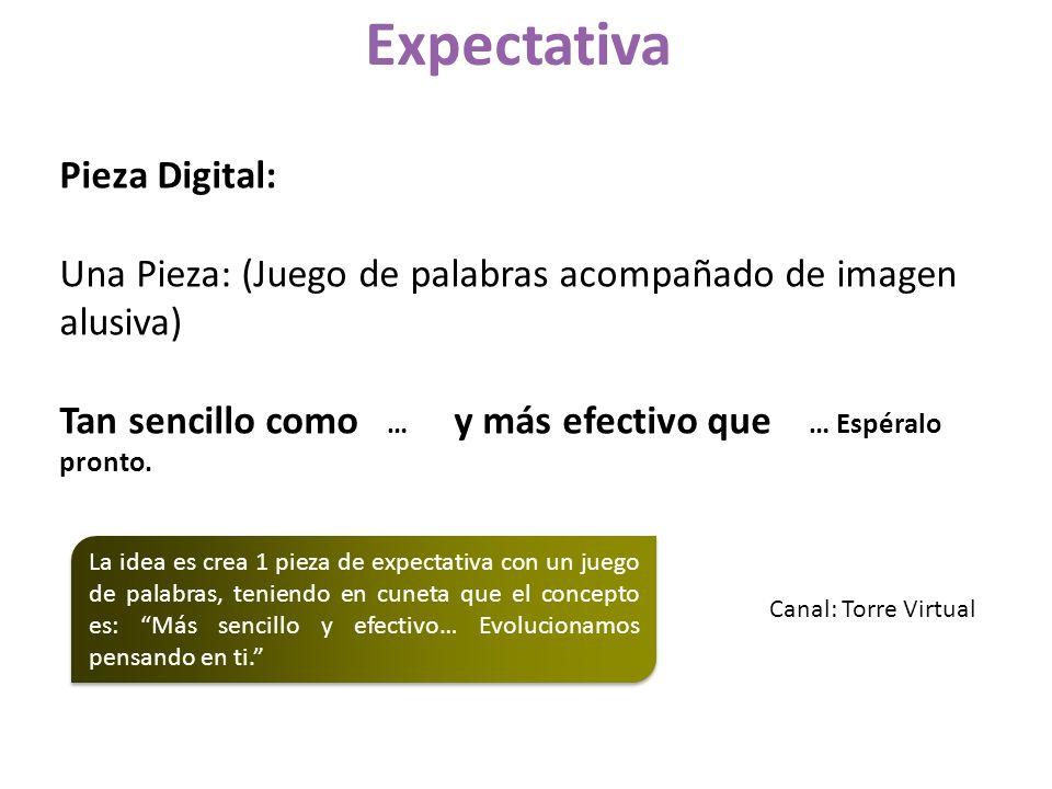 Pieza Digital: Una Pieza: (Juego de palabras acompañado de imagen alusiva) Tan sencillo como … y más efectivo que … Espéralo pronto. Expectativa La id