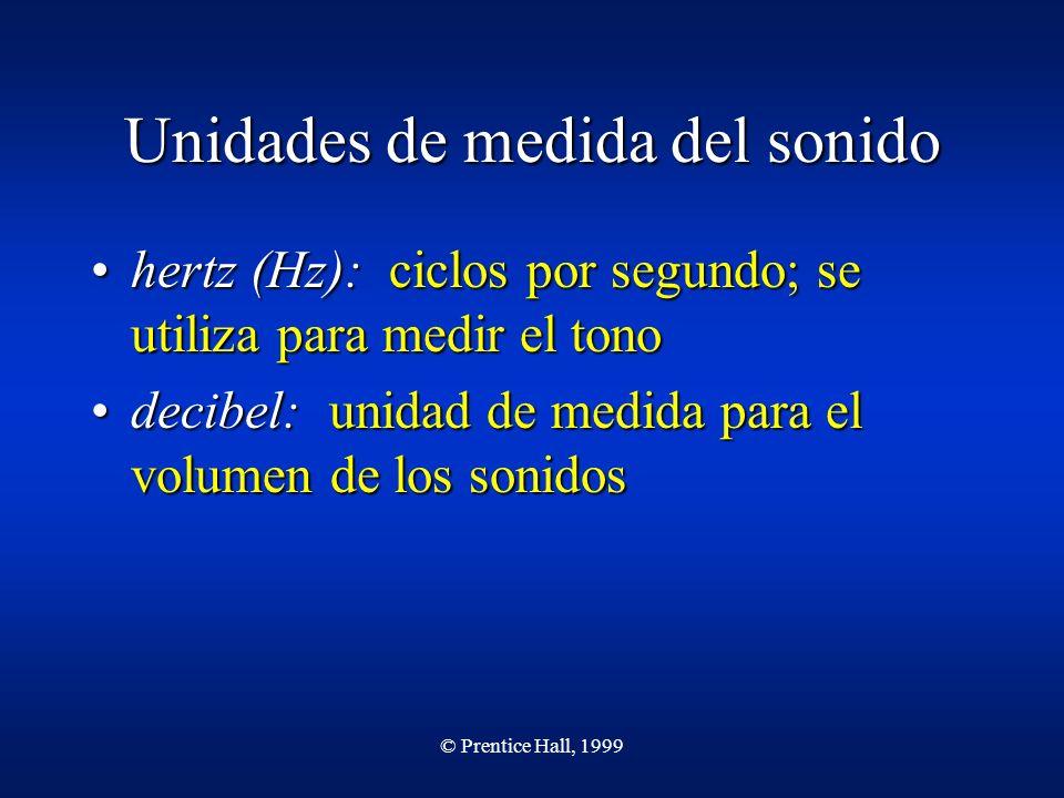 © Prentice Hall, 1999 Unidades de medida del sonido hertz (Hz): ciclos por segundo; se utiliza para medir el tonohertz (Hz): ciclos por segundo; se ut