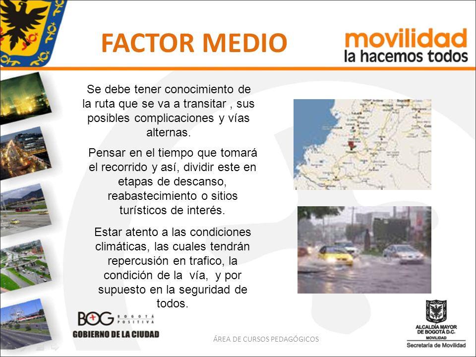 FACTOR MEDIO Se debe tener conocimiento de la ruta que se va a transitar, sus posibles complicaciones y vías alternas. Pensar en el tiempo que tomará