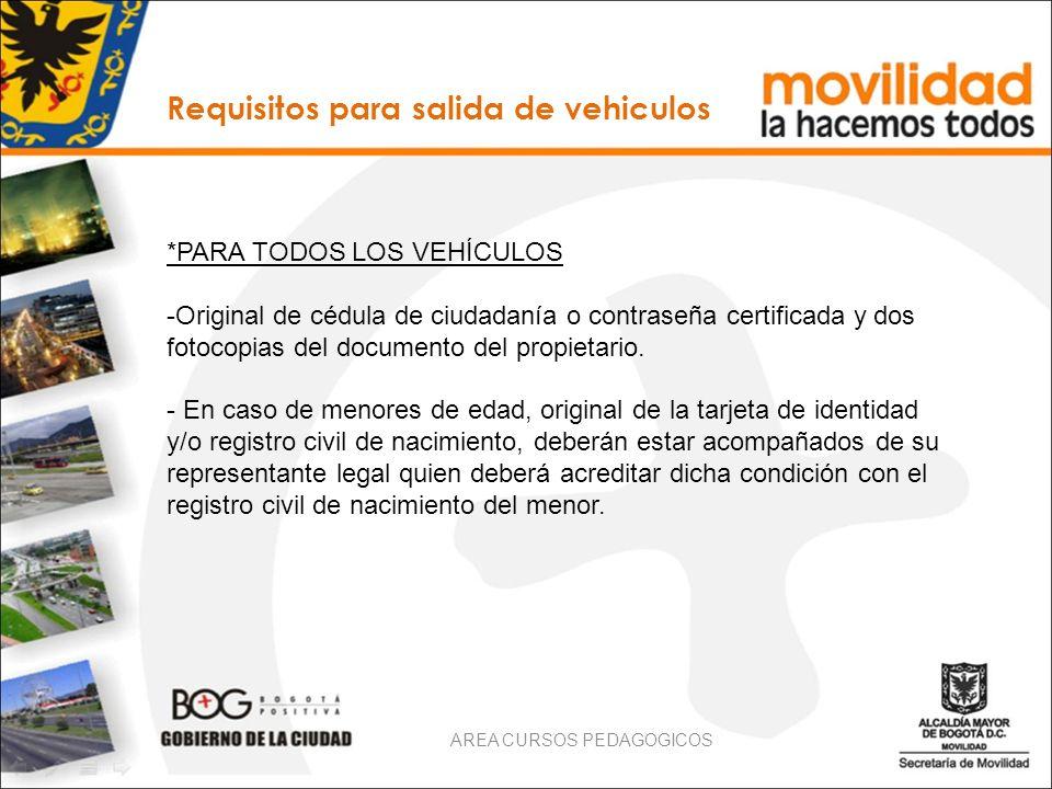 Requisitos para salida de vehiculos *PARA TODOS LOS VEHÍCULOS -Original de cédula de ciudadanía o contraseña certificada y dos fotocopias del document