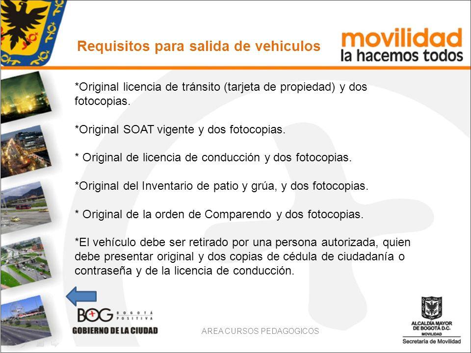Requisitos para salida de vehiculos *Original licencia de tránsito (tarjeta de propiedad) y dos fotocopias. *Original SOAT vigente y dos fotocopias. *
