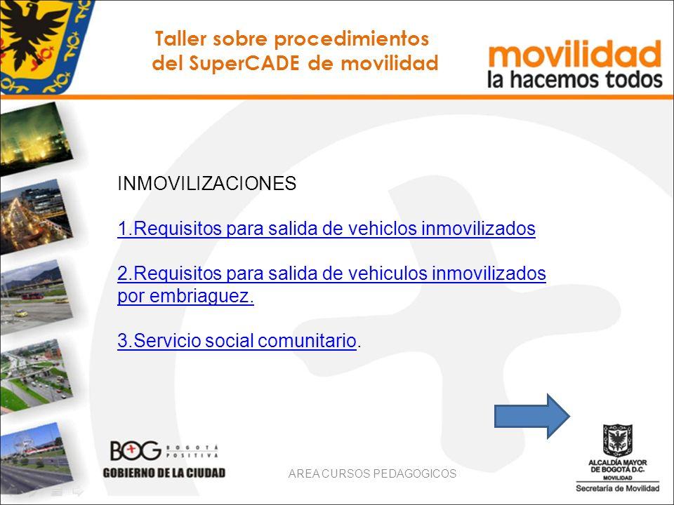 INMOVILIZACIONES 1.Requisitos para salida de vehiclos inmovilizados 2.Requisitos para salida de vehiculos inmovilizados por embriaguez. 3.Servicio soc