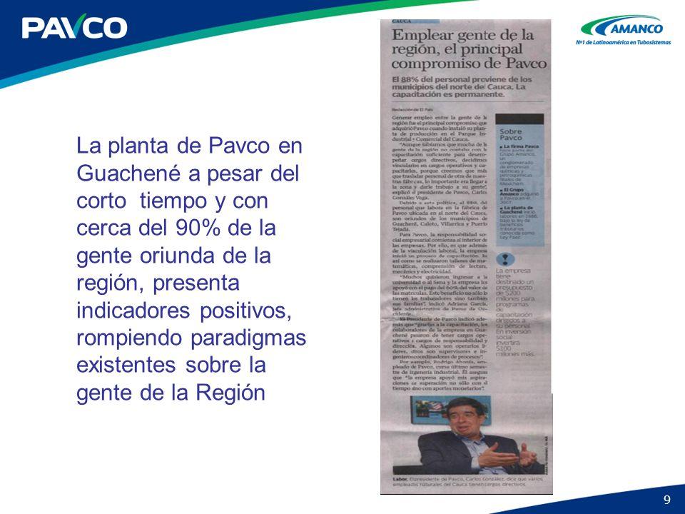 9 La planta de Pavco en Guachené a pesar del corto tiempo y con cerca del 90% de la gente oriunda de la región, presenta indicadores positivos, rompie