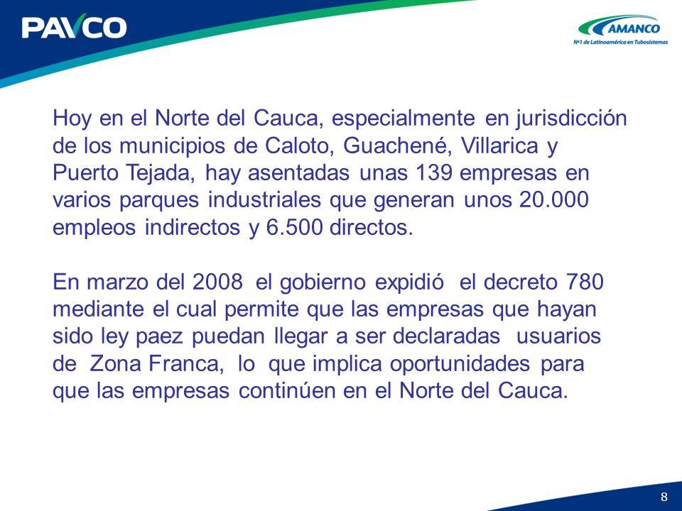 8 Hoy en el Norte del Cauca, especialmente en jurisdicción de los municipios de Caloto, Guachené, Villarica y Puerto Tejada, hay asentadas unas 139 em
