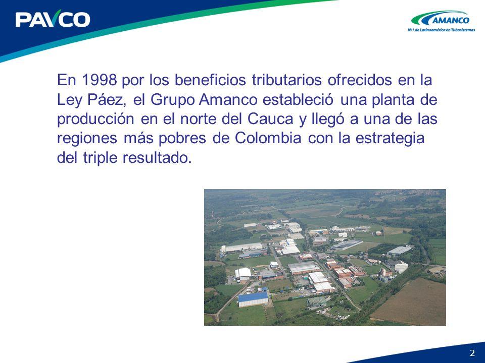 2 En 1998 por los beneficios tributarios ofrecidos en la Ley Páez, el Grupo Amanco estableció una planta de producción en el norte del Cauca y llegó a