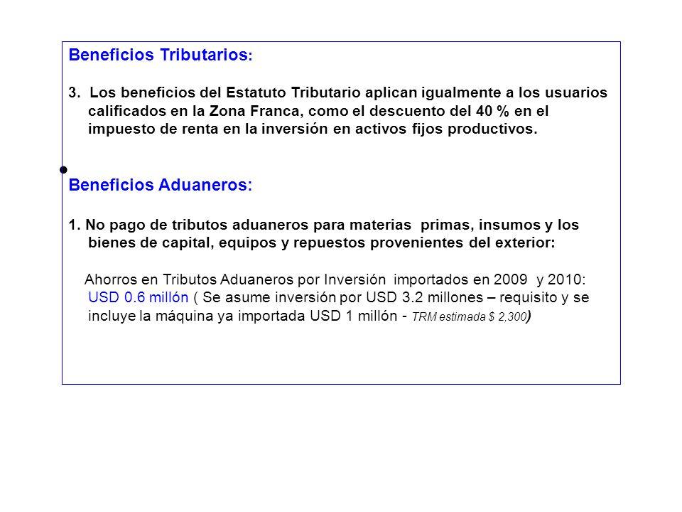 Beneficios Tributarios : 3. Los beneficios del Estatuto Tributario aplican igualmente a los usuarios calificados en la Zona Franca, como el descuento