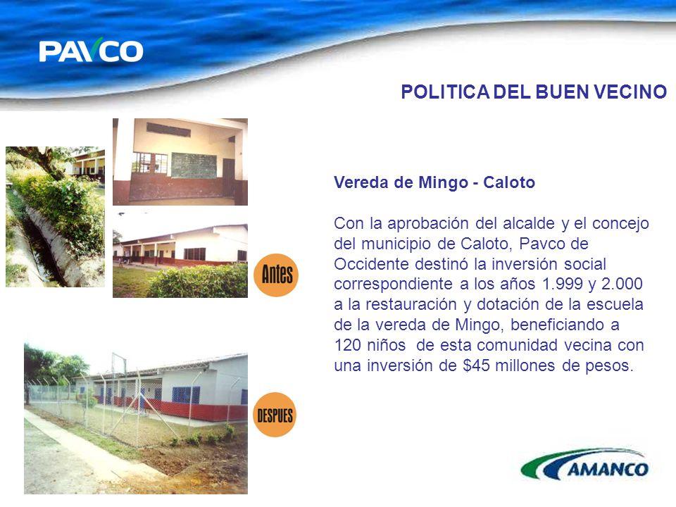 Vereda de Mingo - Caloto Con la aprobación del alcalde y el concejo del municipio de Caloto, Pavco de Occidente destinó la inversión social correspond