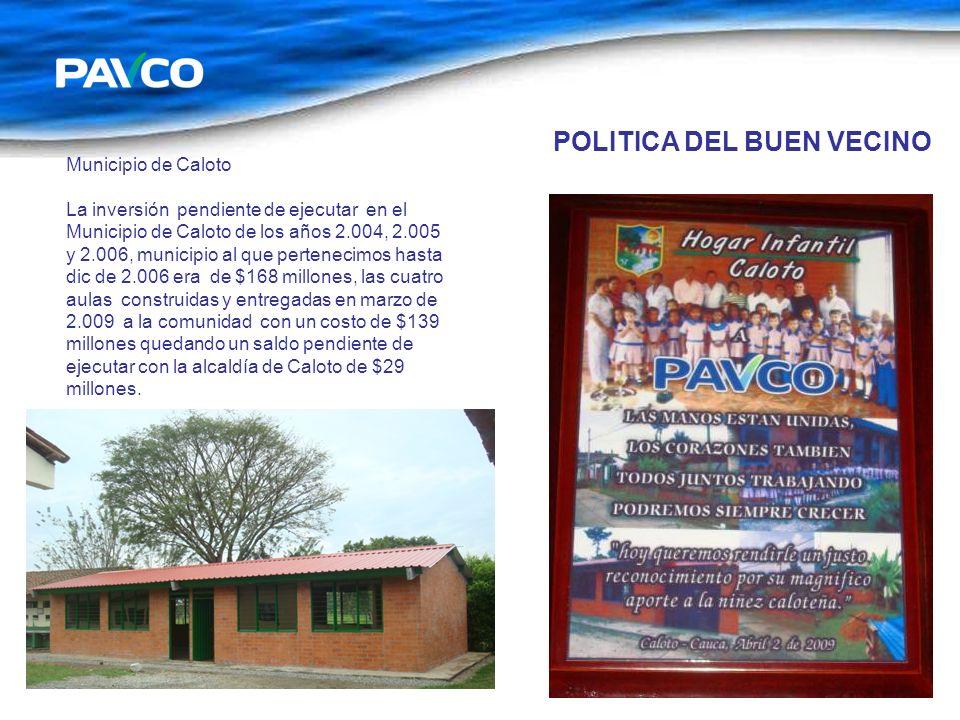POLITICA DEL BUEN VECINO Municipio de Caloto La inversión pendiente de ejecutar en el Municipio de Caloto de los años 2.004, 2.005 y 2.006, municipio