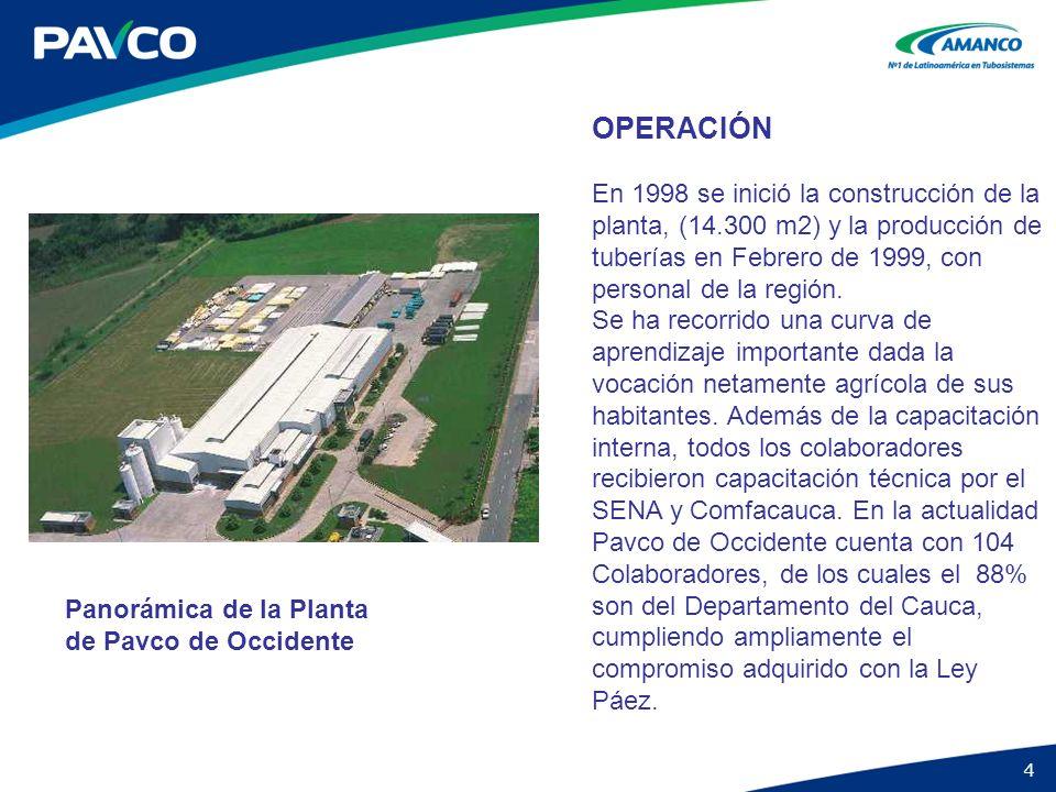 4 OPERACIÓN En 1998 se inició la construcción de la planta, (14.300 m2) y la producción de tuberías en Febrero de 1999, con personal de la región. Se