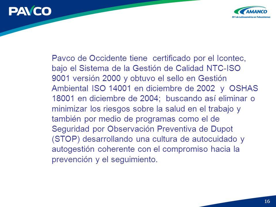 16 Pavco de Occidente tiene certificado por el Icontec, bajo el Sistema de la Gestión de Calidad NTC-ISO 9001 versión 2000 y obtuvo el sello en Gestió