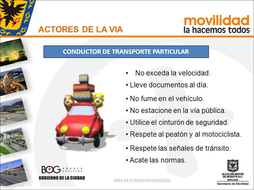 No exceda la velocidad. ACTORES DE LA VIA CONDUCTOR DE TRANSPORTE PARTICULAR ÁREA DE CURSOS PEDAGÓGICOS Lleve documentos al día. No fume en el vehícul