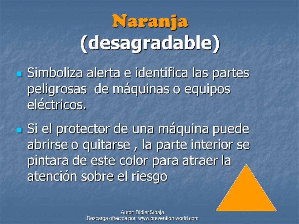 Autor: Didier Sibaja Descarga ofrecida por: www.prevention-world.com Naranja (desagradable) Simboliza alerta e identifica las partes peligrosas de máq