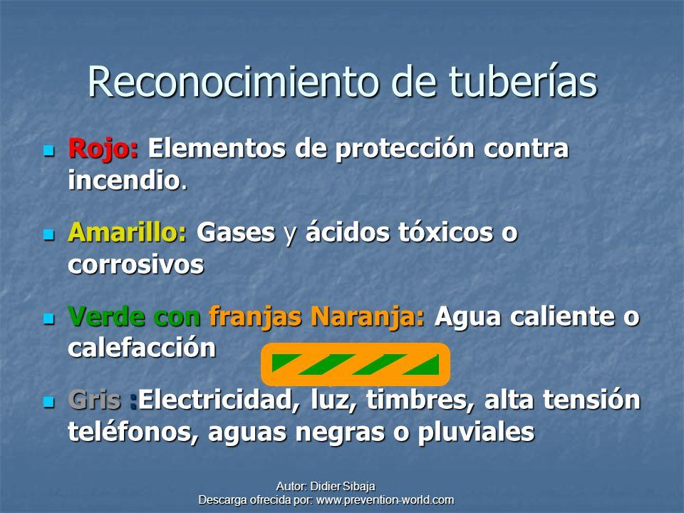 Autor: Didier Sibaja Descarga ofrecida por: www.prevention-world.com Reconocimiento de tuberías Rojo: Elementos de protección contra incendio. Rojo: E
