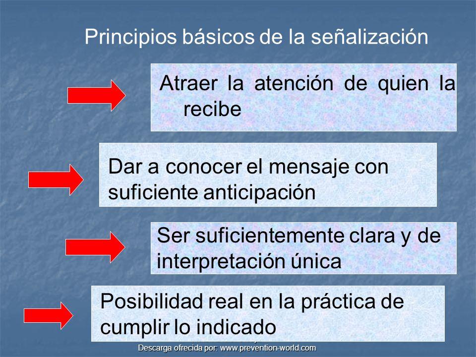 Autor: Didier Sibaja Descarga ofrecida por: www.prevention-world.com TÁCTILES CLASES DE SEÑALES Se clasifican en función del sentido por el que se perciben VISUALES AUDITIVAS OLFATIVAS