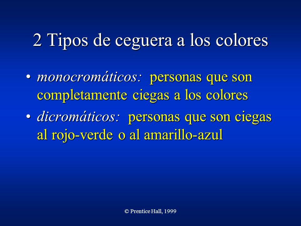 © Prentice Hall, 1999 2 Tipos de ceguera a los colores monocromáticos: personas que son completamente ciegas a los coloresmonocromáticos: personas que