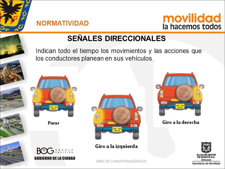 ÁREA DE CURSOS PEDAGÓGICOS NORMATIVIDAD SEÑALES DIRECCIONALES Indican todo el tiempo los movimientos y las acciones que los conductores planean en sus
