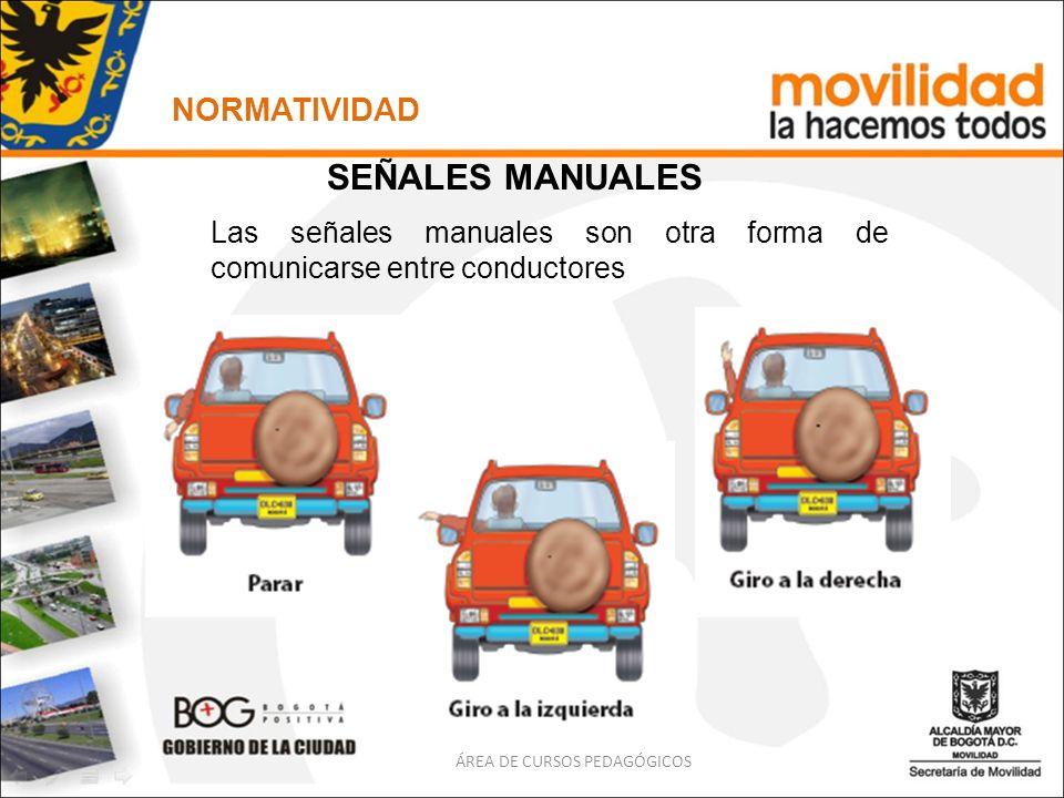 ÁREA DE CURSOS PEDAGÓGICOS NORMATIVIDAD SEÑALES MANUALES Las señales manuales son otra forma de comunicarse entre conductores
