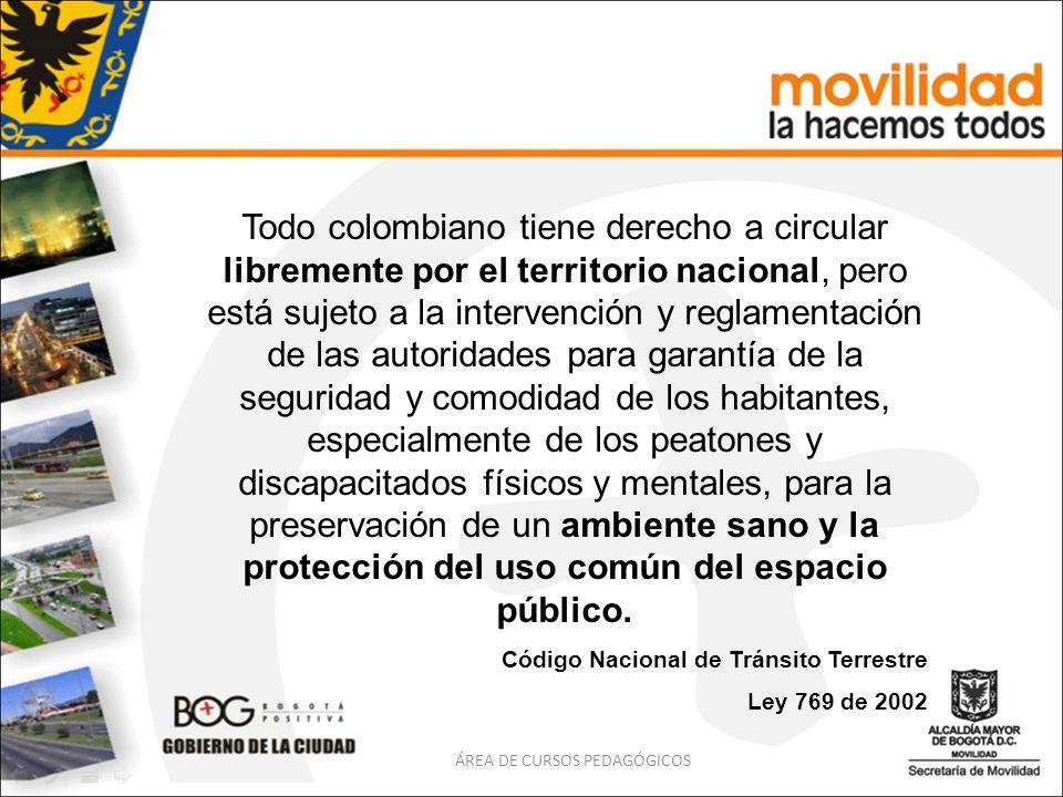Todo colombiano tiene derecho a circular libremente por el territorio nacional, pero está sujeto a la intervención y reglamentación de las autoridades