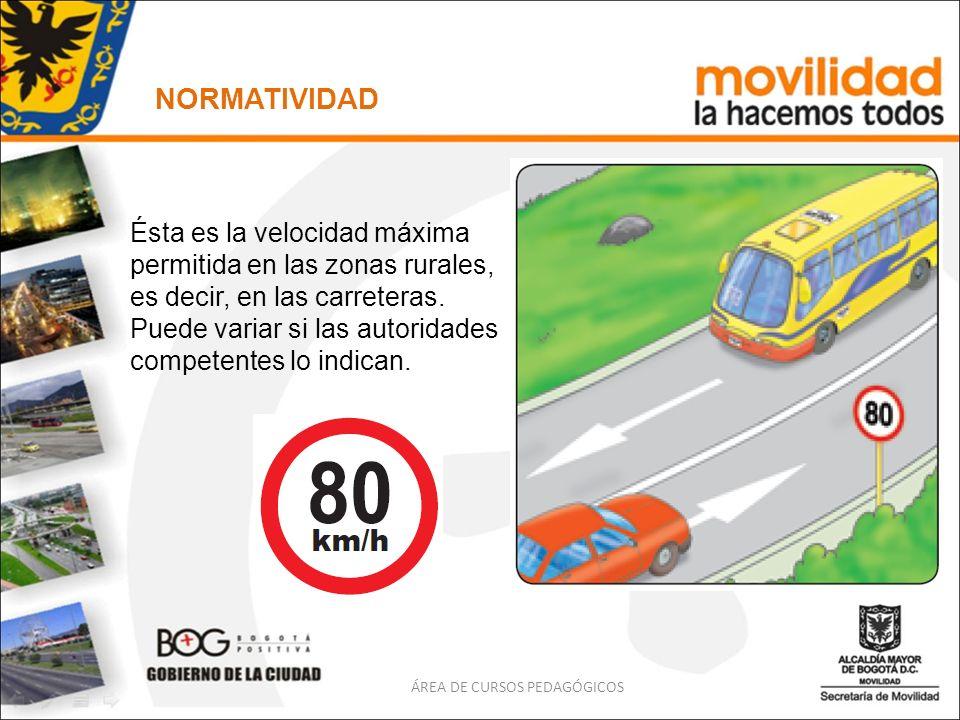 ÁREA DE CURSOS PEDAGÓGICOS NORMATIVIDAD Ésta es la velocidad máxima permitida en las zonas rurales, es decir, en las carreteras. Puede variar si las a