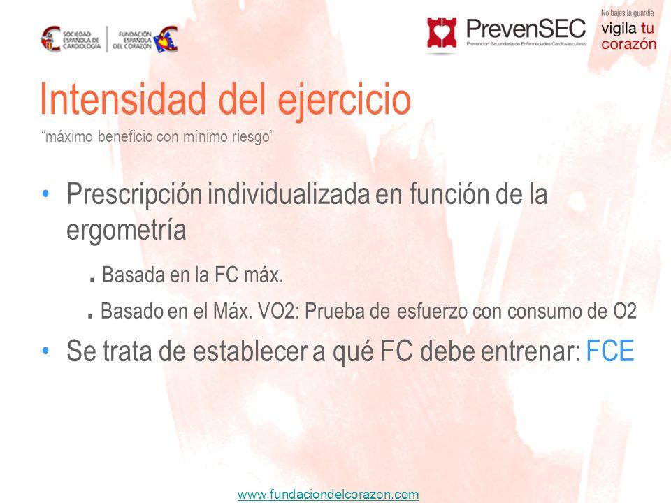 www.fundaciondelcorazon.com Prescripción individualizada en función de la ergometría. Basada en la FC máx.. Basado en el Máx. VO2: Prueba de esfuerzo