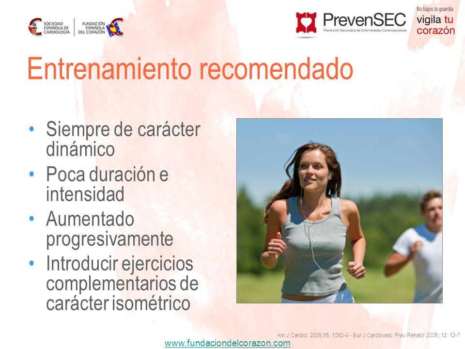 www.fundaciondelcorazon.com Siempre de carácter dinámico Poca duración e intensidad Aumentado progresivamente Introducir ejercicios complementarios de