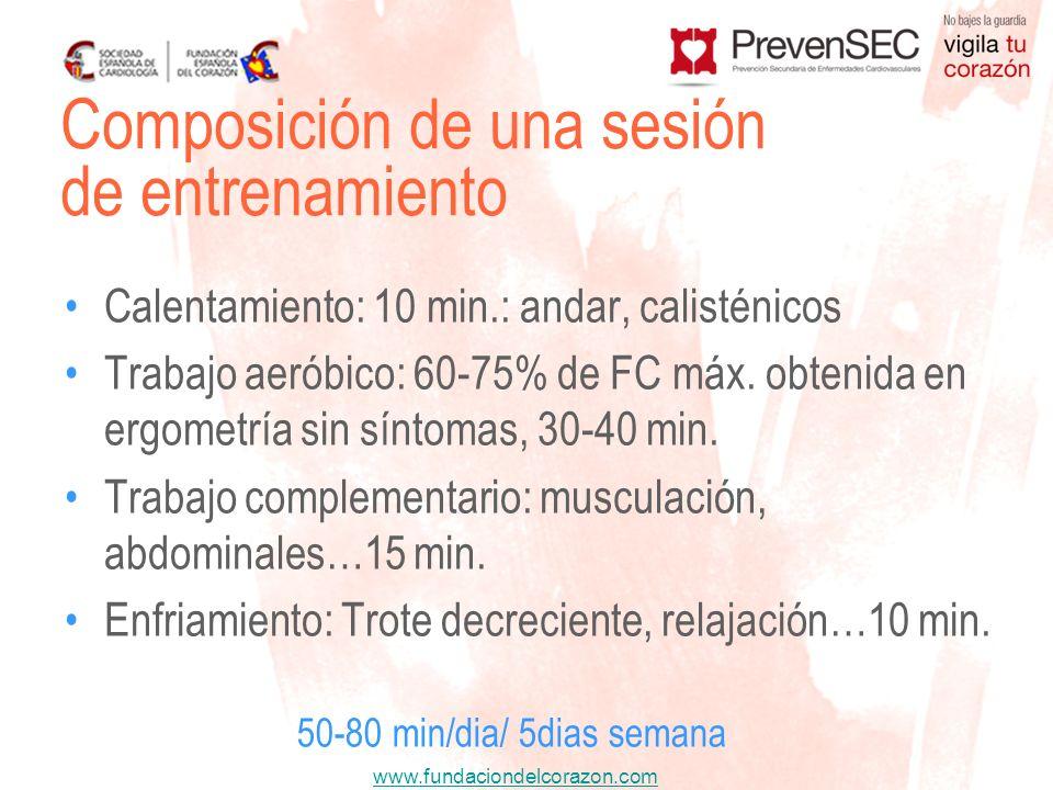 www.fundaciondelcorazon.com Calentamiento: 10 min.: andar, calisténicos Trabajo aeróbico: 60-75% de FC máx. obtenida en ergometría sin síntomas, 30-40