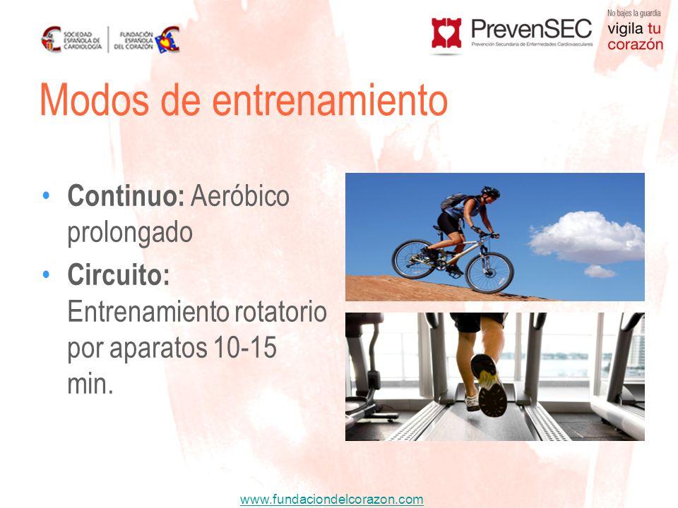 www.fundaciondelcorazon.com Continuo: Aeróbico prolongado Circuito: Entrenamiento rotatorio por aparatos 10-15 min. Modos de entrenamiento