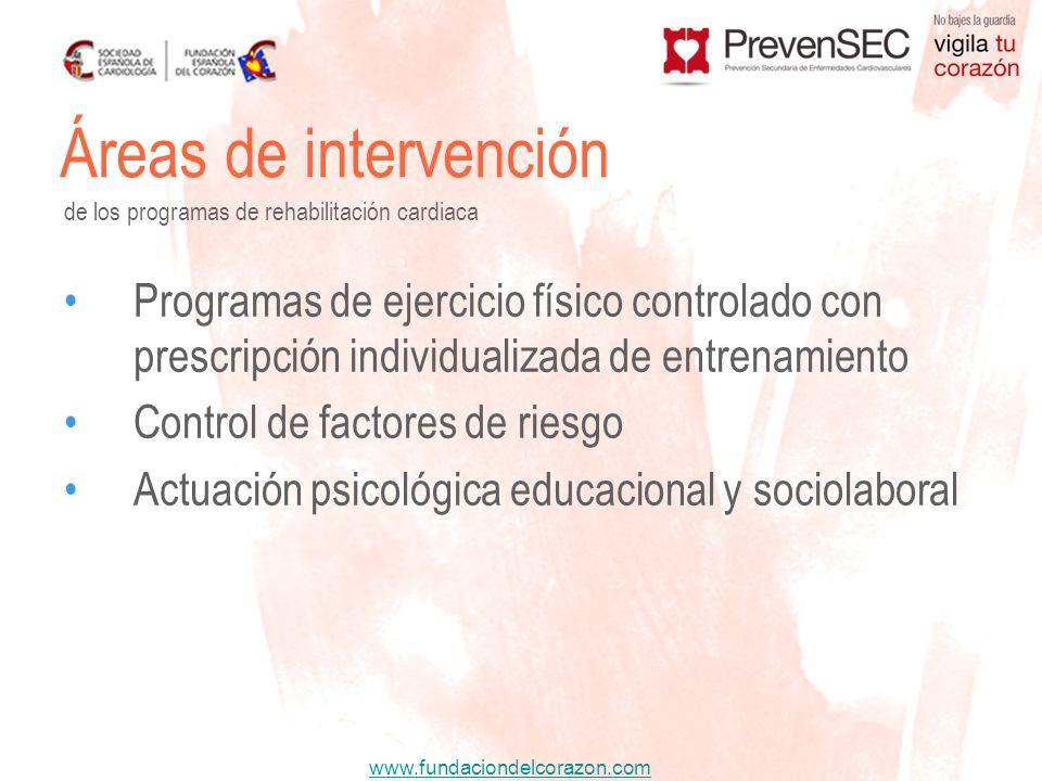 www.fundaciondelcorazon.com Áreas de intervención de los programas de rehabilitación cardiaca Programas de ejercicio físico controlado con prescripció