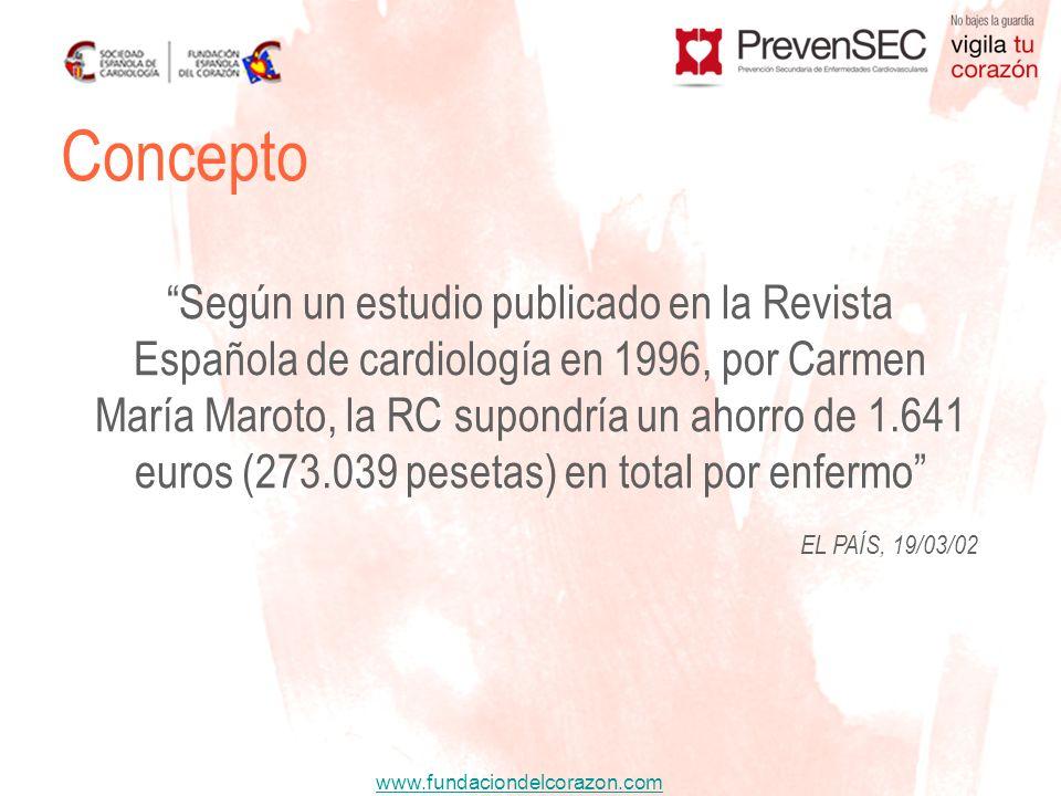 www.fundaciondelcorazon.com EL PAÍS, 19/03/02 Concepto Según un estudio publicado en la Revista Española de cardiología en 1996, por Carmen María Maro