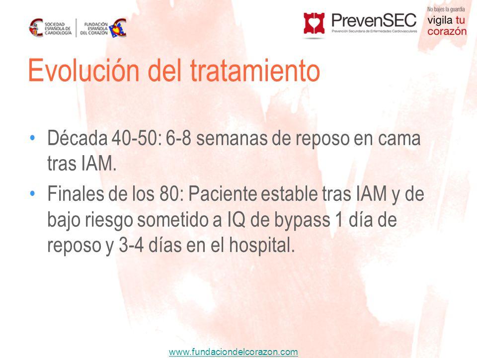 www.fundaciondelcorazon.com Década 40-50: 6-8 semanas de reposo en cama tras IAM. Finales de los 80: Paciente estable tras IAM y de bajo riesgo someti