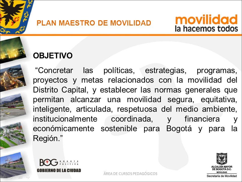 ÄREA DE CURSOS PEDAGÓGICOS OBJETIVO Concretar las políticas, estrategias, programas, proyectos y metas relacionados con la movilidad del Distrito Capi