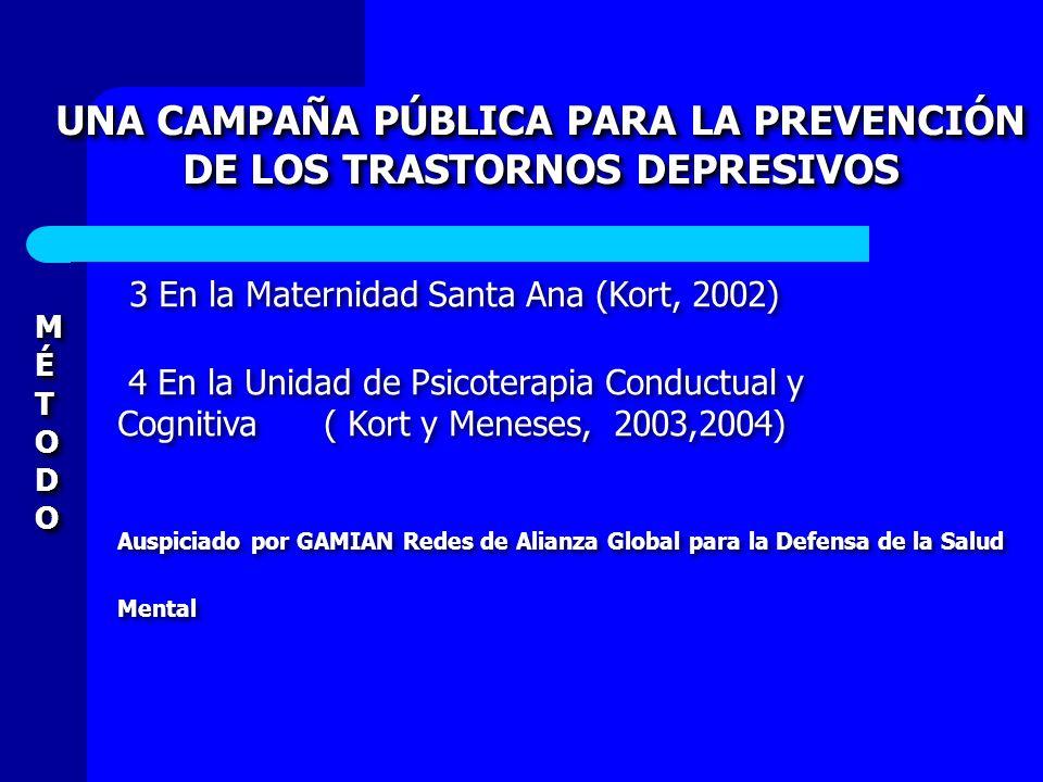 UNA CAMPAÑA PÚBLICA PARA LA PREVENCIÓN DE LOS TRASTORNOS DEPRESIVOS UNA CAMPAÑA PÚBLICA PARA LA PREVENCIÓN DE LOS TRASTORNOS DEPRESIVOS MÉTODOMÉTODOMÉ
