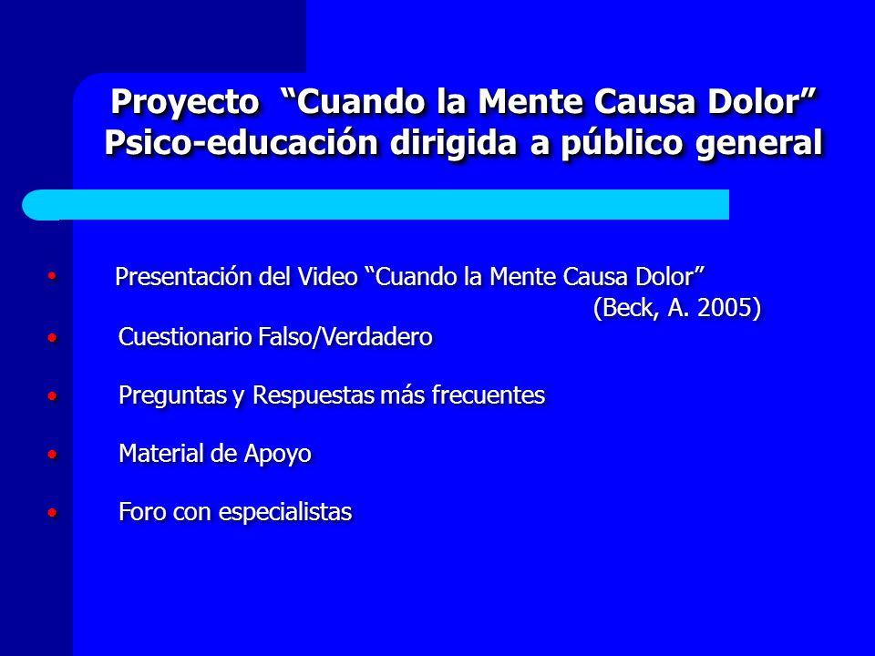 Proyecto Cuando la Mente Causa Dolor Psico-educación dirigida a público general Proyecto Cuando la Mente Causa Dolor Psico-educación dirigida a públic