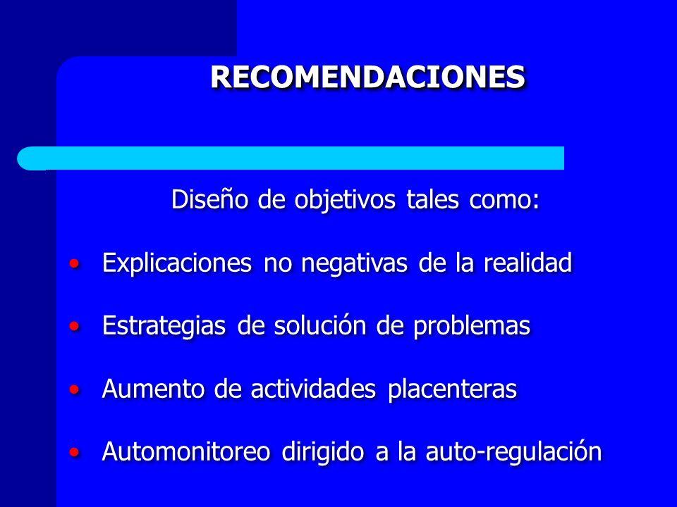 RECOMENDACIONES Diseño de objetivos tales como: Explicaciones no negativas de la realidad Estrategias de solución de problemas Aumento de actividades