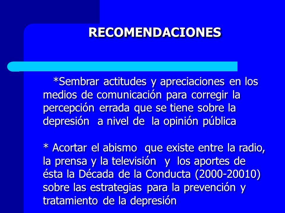 RECOMENDACIONES *Sembrar actitudes y apreciaciones en los medios de comunicación para corregir la percepción errada que se tiene sobre la depresión a