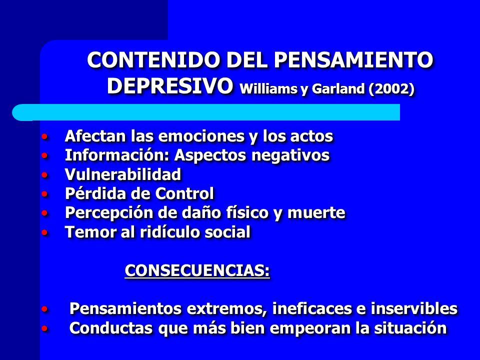 CONTENIDO DEL PENSAMIENTO DEPRESIVO Williams y Garland (2002) Afectan las emociones y los actosAfectan las emociones y los actos Información: Aspectos