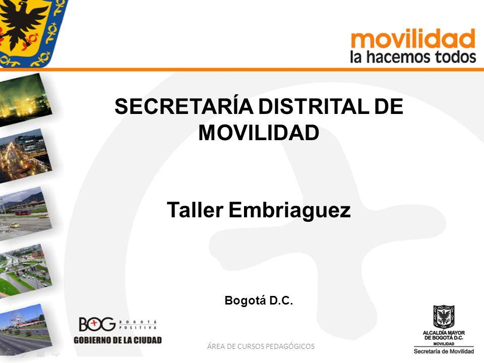 SECRETARÍA DISTRITAL DE MOVILIDAD Taller Embriaguez Bogotá D.C. ÁREA DE CURSOS PEDAGÓGICOS