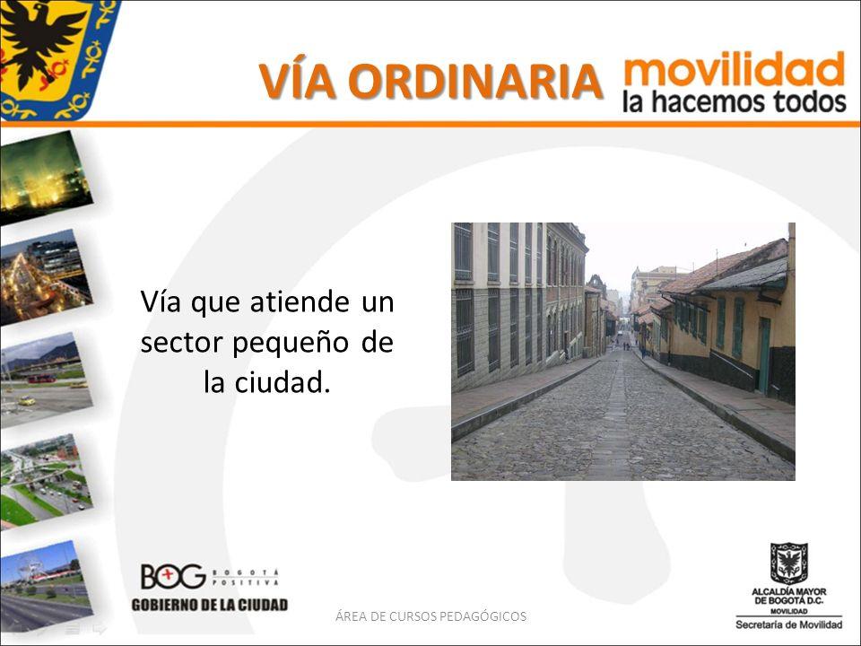 VÍA ORDINARIA Vía que atiende un sector pequeño de la ciudad. ÁREA DE CURSOS PEDAGÓGICOS