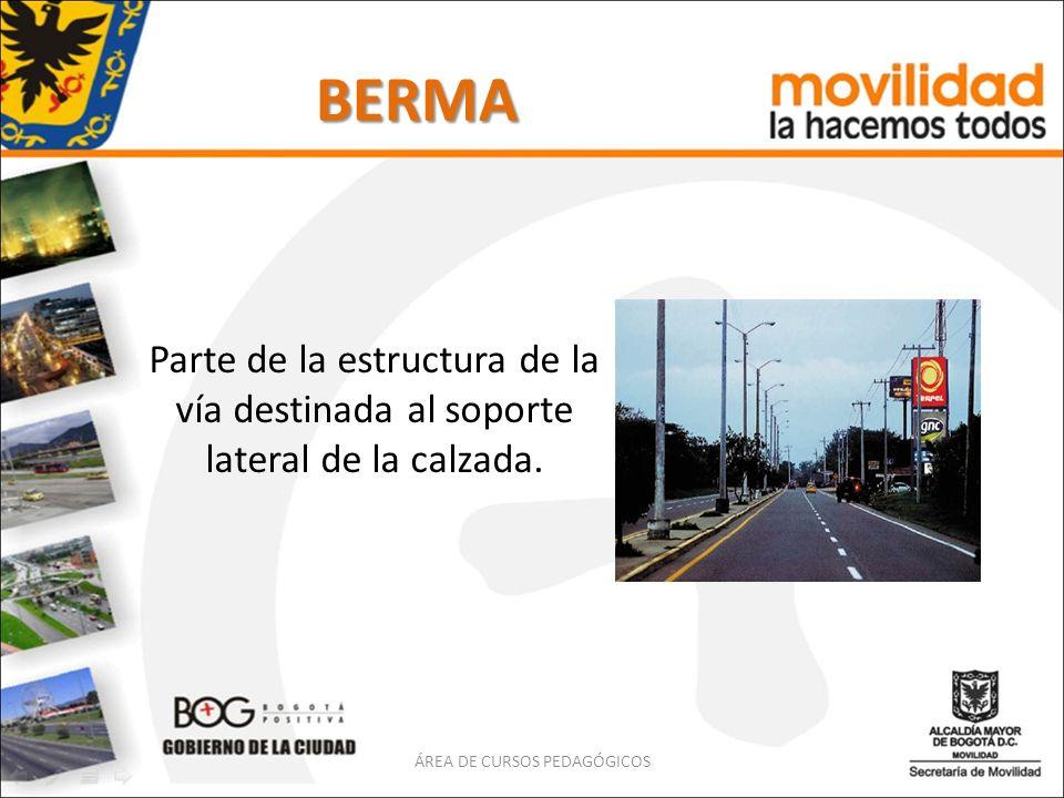 BERMA Parte de la estructura de la vía destinada al soporte lateral de la calzada. ÁREA DE CURSOS PEDAGÓGICOS