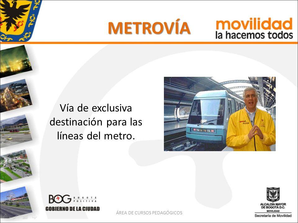 METROVÍA Vía de exclusiva destinación para las líneas del metro. ÁREA DE CURSOS PEDAGÓGICOS