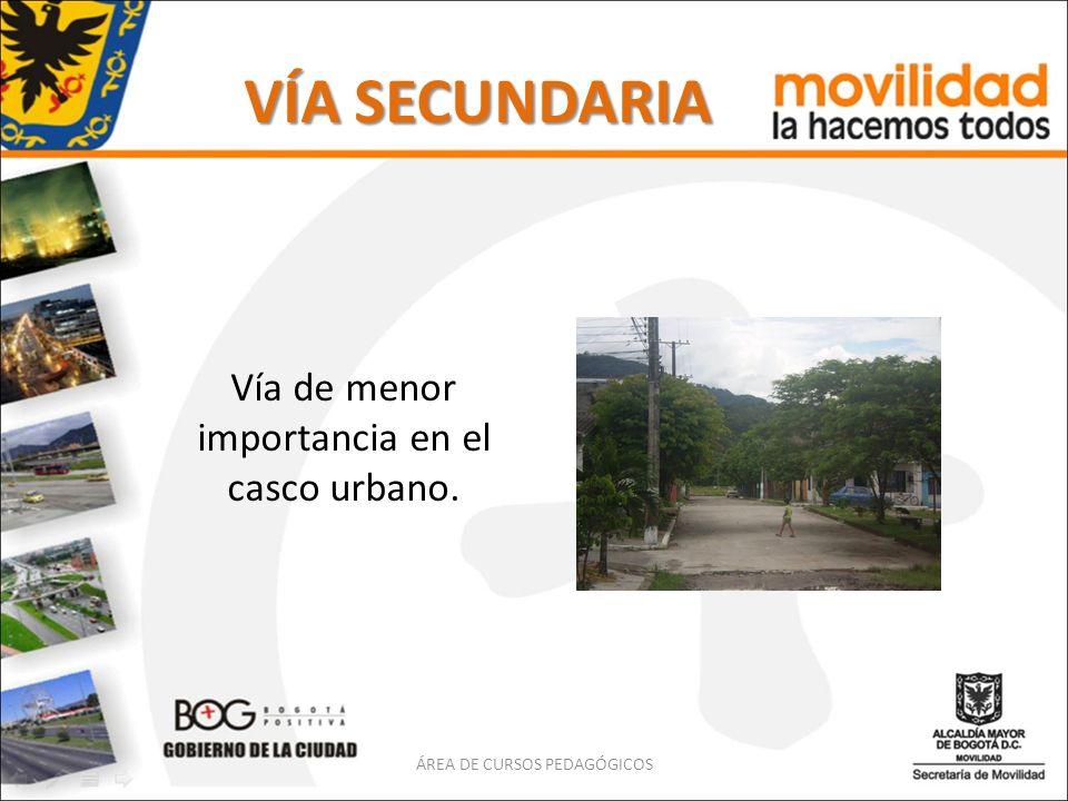VÍA SECUNDARIA Vía de menor importancia en el casco urbano. ÁREA DE CURSOS PEDAGÓGICOS