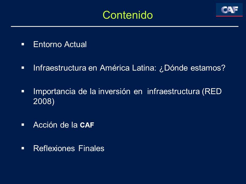 Contenido Entorno Actual Infraestructura en América Latina: ¿Dónde estamos? Importancia de la inversión en infraestructura (RED 2008) Acción de la CAF