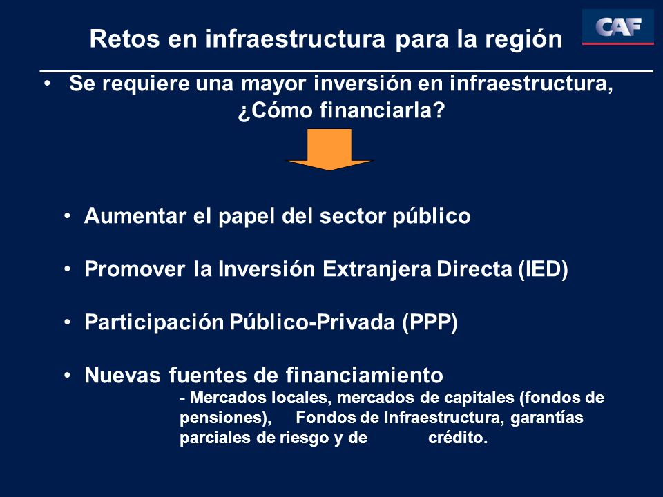 Retos en infraestructura para la región Se requiere una mayor inversión en infraestructura, ¿Cómo financiarla? Aumentar el papel del sector público Pr