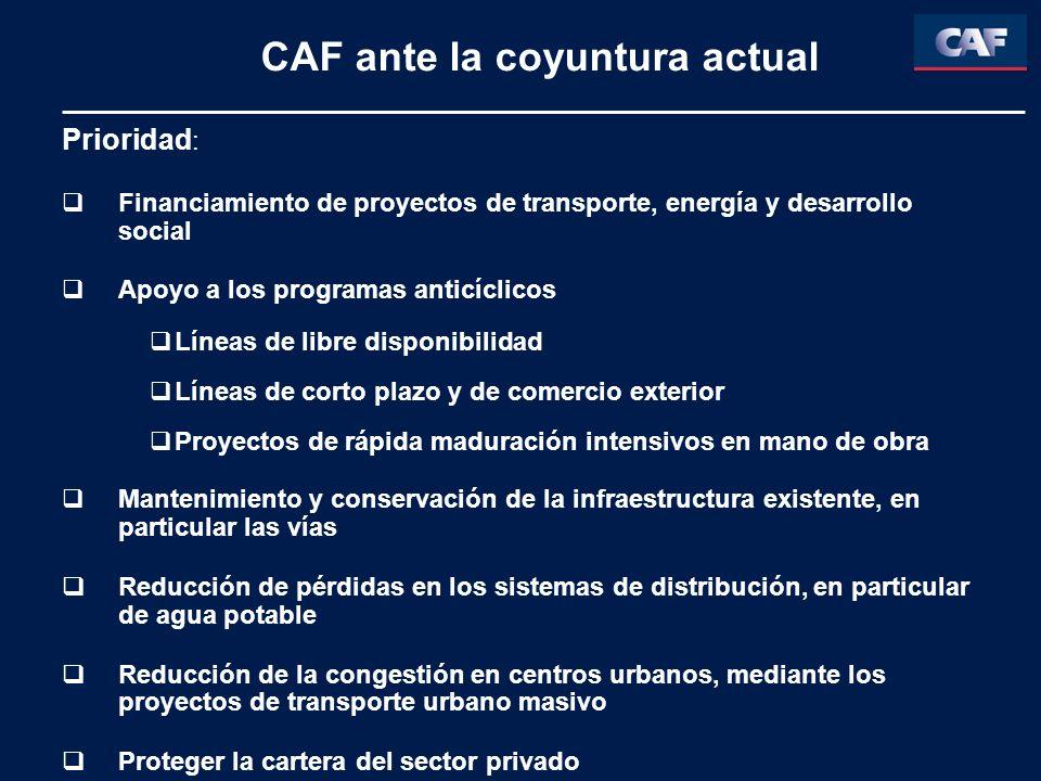 CAF ante la coyuntura actual Prioridad : Financiamiento de proyectos de transporte, energía y desarrollo social Apoyo a los programas anticíclicos Lín