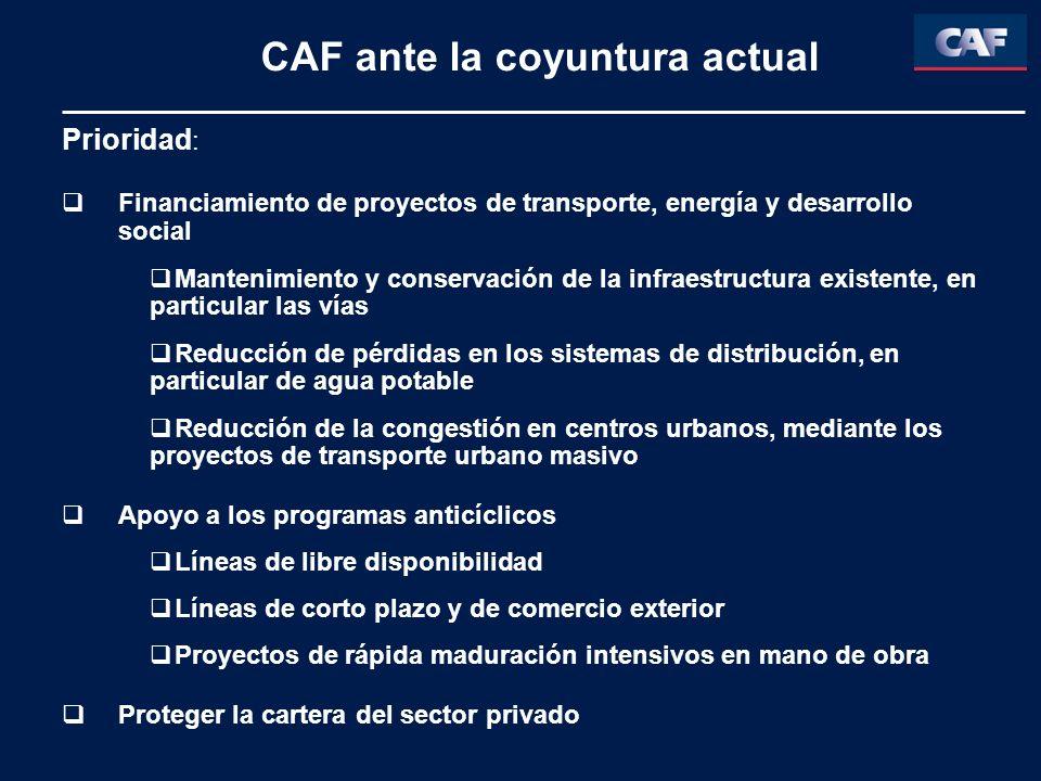 CAF ante la coyuntura actual Prioridad : Financiamiento de proyectos de transporte, energía y desarrollo social Mantenimiento y conservación de la inf